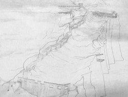 白帝城古码头与偷水栈道复原图