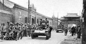 被俘的坦克兵参加解放太原的战斗