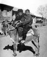 华北农村中一对骑驴的兄弟