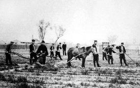 保定设立直隶高等农学堂的学生们在实习播种