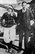 飞渡大西洋的美国女飞行家鲁丝·埃尔德及其助手