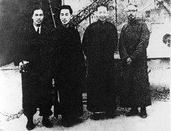 1947年梅兰芳与丰子恺、郎静山等在沪合影