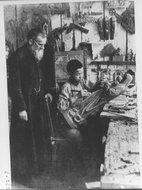潘国磐神父在教一个中国男童习艺