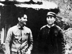 1939年斯诺与毛泽东在延安合影